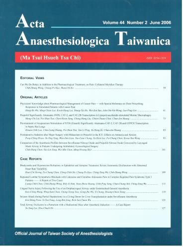 Anaesthesiologica Taiwanica-1